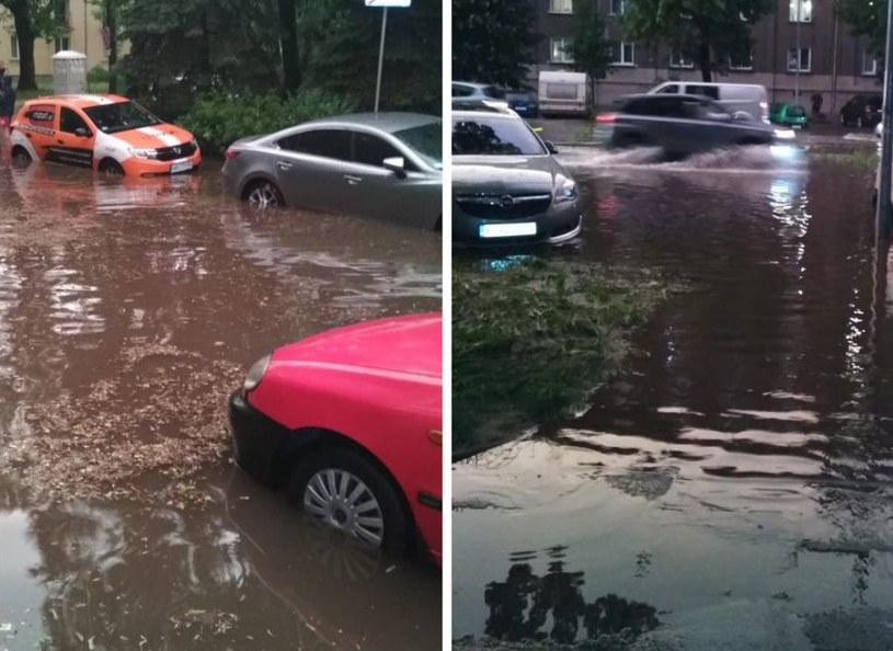 W Nowej Hucie zalane zostały ulice, samochody stoją w wodzie /
