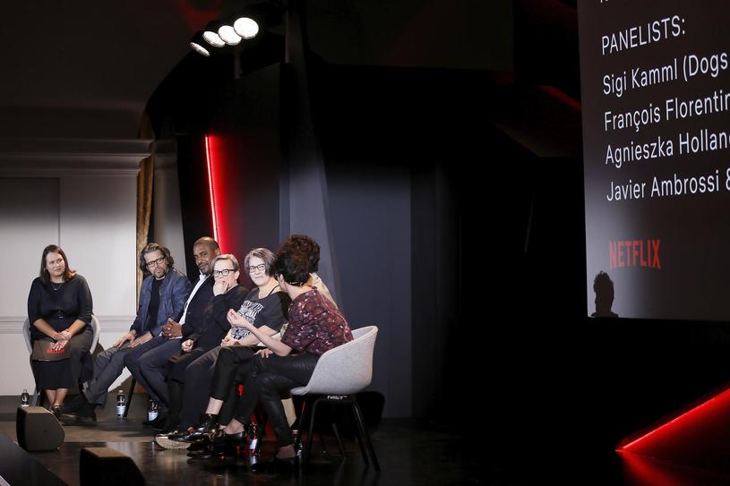 W panelu wzięły udział między innymi Agnieszka Holland i Kasia Adamik - konferencja Netflix w Rzymie (18 kwietnia 2018) /materiały prasowe