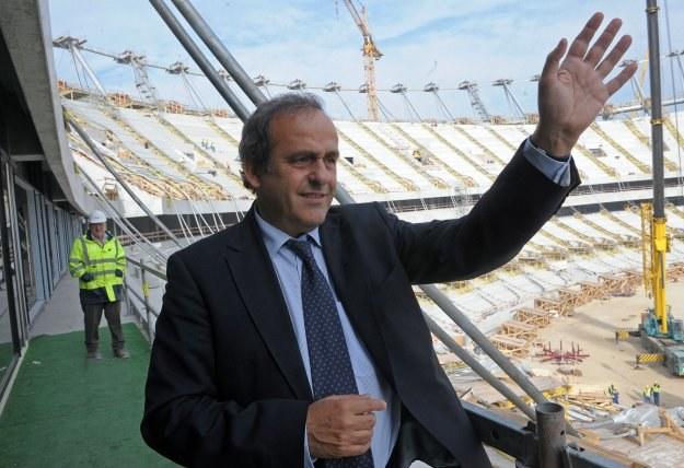 W październiku Stadion Narodowy w Warszawie odwiedził Michel Platini, szef UEFA /AFP