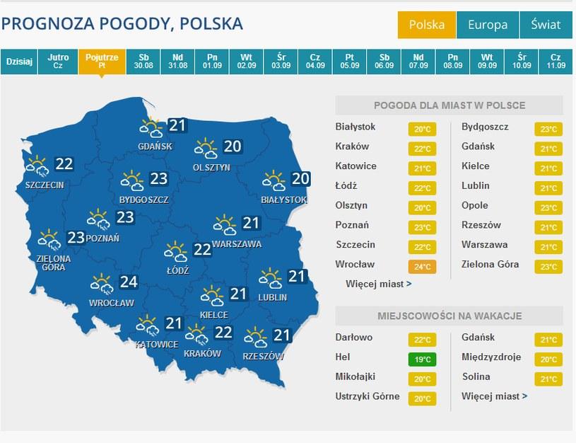 W piątek na zachodzie kraju możliwe burze. /INTERIA.PL