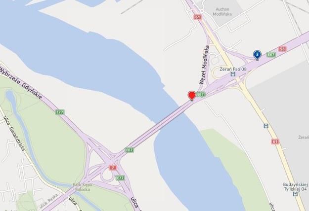 w pobliżu węzła Modlińska doszło do zderzenia 3 samochodów ciężarowych /INTERIA.PL