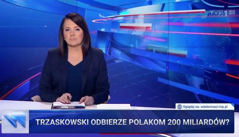 """W pozwie wspomina się także o materiale """"Wiadomości"""" """"Trzaskowski odbierze Polakom 200 miliardów"""", w którym sugerowano, że pieniądze na pomoc społeczną Trzaskowski przekieruje na żydowskie roszczenia /TVP"""