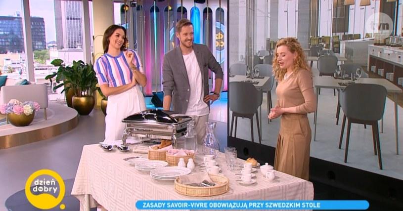 """W programie """"Dzień Dobry TVN"""" Dominika Grodowska opowiedziała, jak zachować się przy stole /dziendobrytvn /materiał zewnętrzny"""