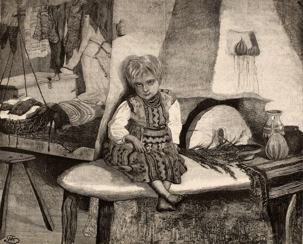 W rusińskiej chałupie. XIX-wieczna grafika /Piotr Mecik /Agencja FORUM