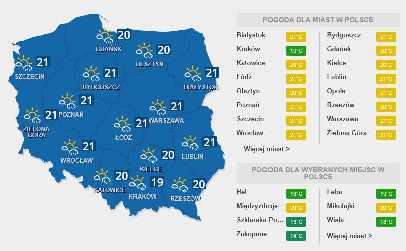 W sobotę możliwe burze z piorunami /INTERIA.PL