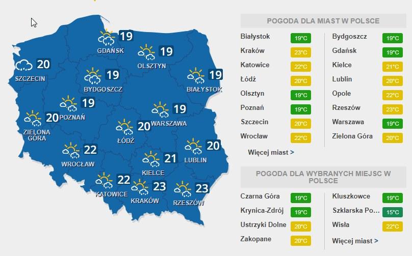 W środę, 5 lipca, przelotne opady w całej Polsce /INTERIA.PL