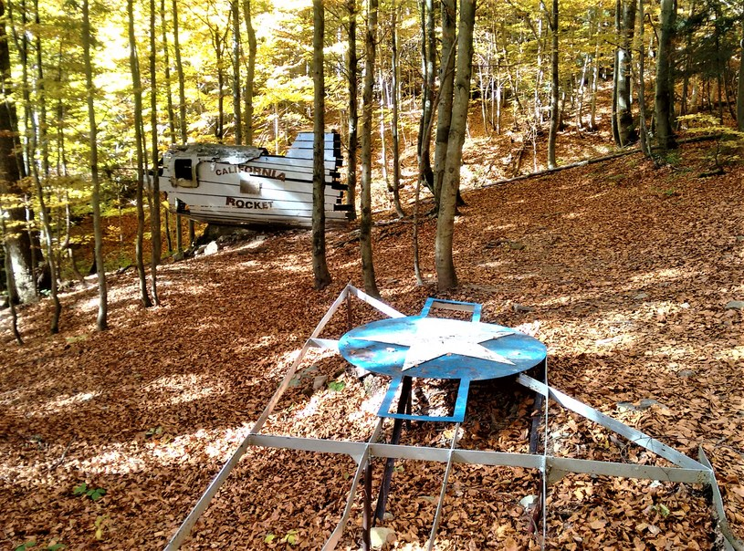 W środku lasu zobaczymy niepełną replikę złożoną z ocalałych szczątek samolotu /Jakub Zygmunt /materiał zewnętrzny