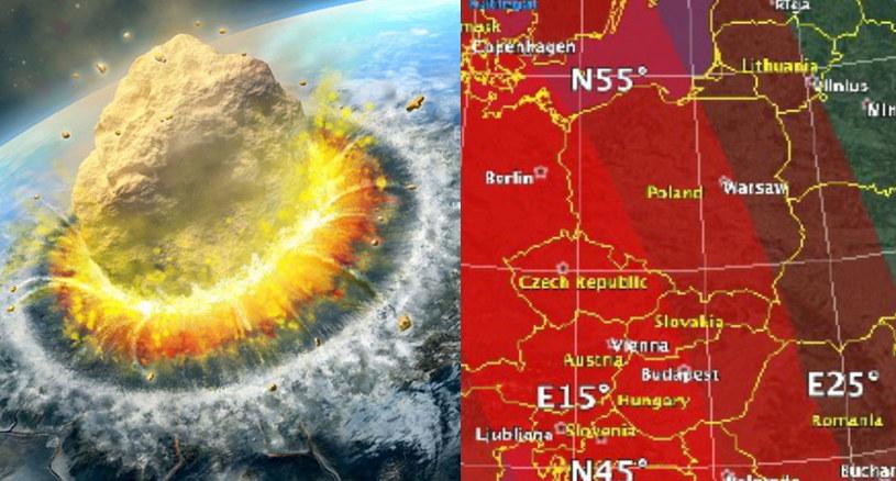 W symulacji NASA miejsce uderzenia do Europa - Polska znajduje się w strefie narażonej na wielkie zniszczenia. Fot. Picsel/NASA /123RF/PICSEL