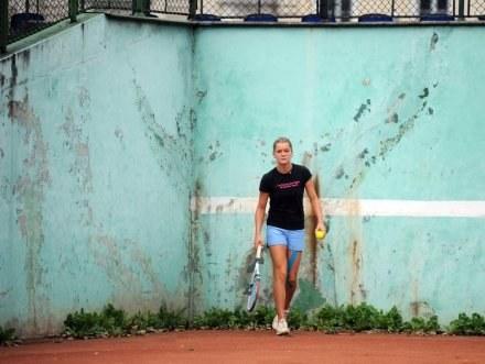 W takich warunkach trenuje najlepsza polska tenisistka. fot. Maciej Gillert /Agencja Przegląd Sportowy