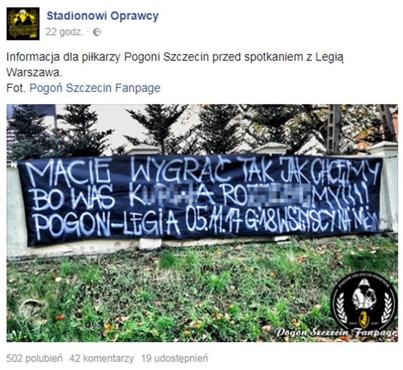"""W tej sposób fanatycy Pogoni Szczecin """"dopingują"""" piłkarzy swojej drużyny /printscreen/Facebook /"""