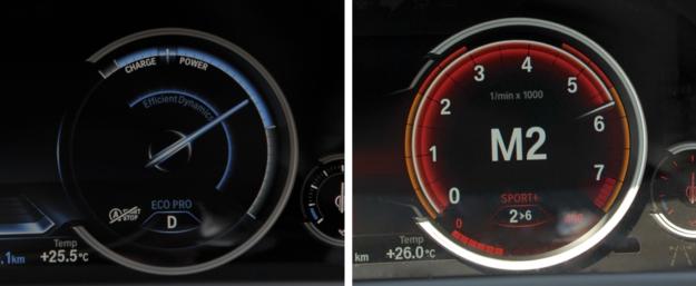 """W trybie """"Eco Pro"""" (po lewej) obrotomierz zmienia się we wskaźnik wykorzystania mocy, ale w ustawieniach """"Sport"""" oraz """"Sport+"""" wygląda zdecydowanie bardziej rasowo. /Motor"""