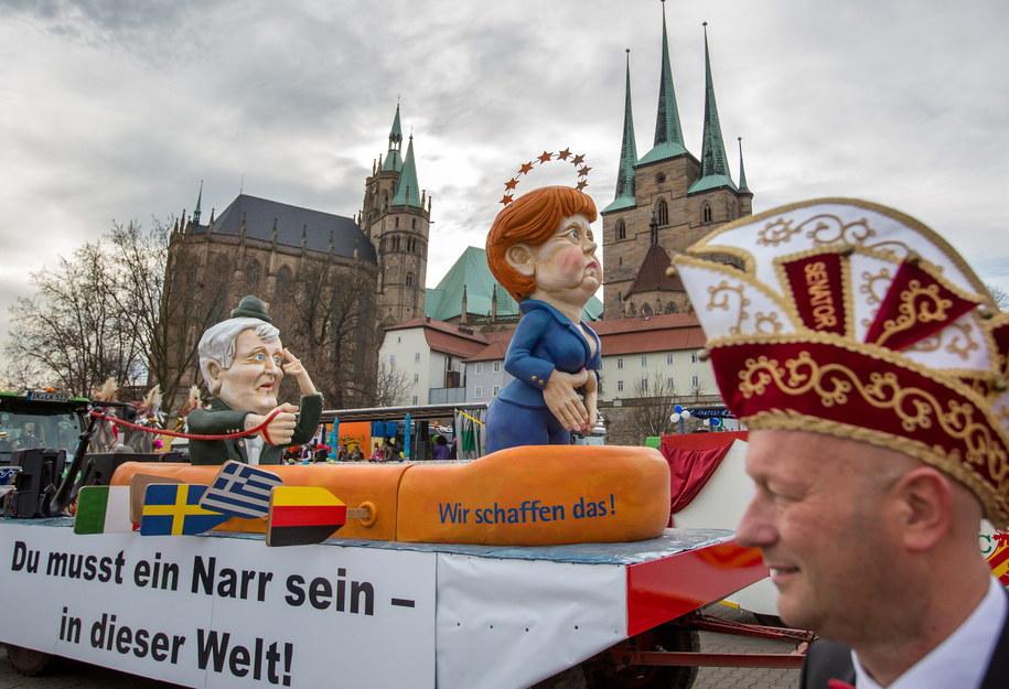 W tym roku najczęstszym motywem była kanclerz Angela Merkel i jej liberalna polityka migracyjna /Michael Reichel    /PAP/EPA