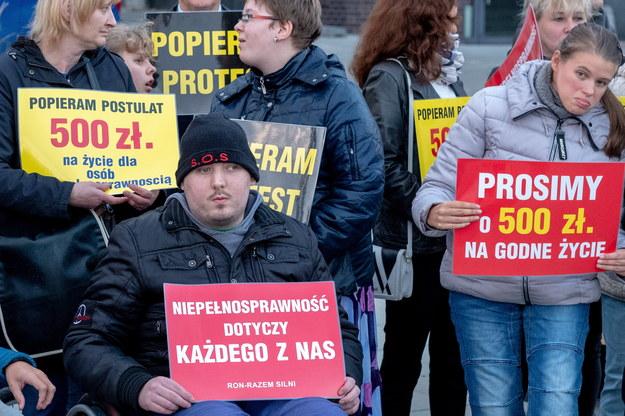 W ubiegłym roku niepełnosprawni protestowali m.in. w Sejmie / Andrzej Grygiel    /PAP