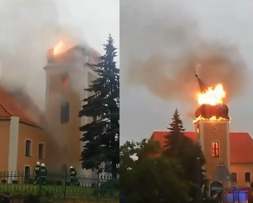 W wieżę kościoła uderzył piorun /YouTube
