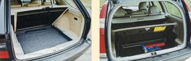W żadnym zaut wielkość bagażnika nie jest imponująca (Saab - 416 dm3, a po złożeniu kanapy - 1490 dm3, zaś w Volvo odpowiednio 485 dm3 i 1641 dm3); jednak rekompensują to liczne praktyczne rozwiązania, jak choćby podnoszona i wysuwana podłoga w Saabie mogąca służyć też za ławeczkę (wytrzymującą obciążenie do 200 kg) oraz, w obu autach, liczne dodatkowe schowki po bokach i pod podłogą. /Motor