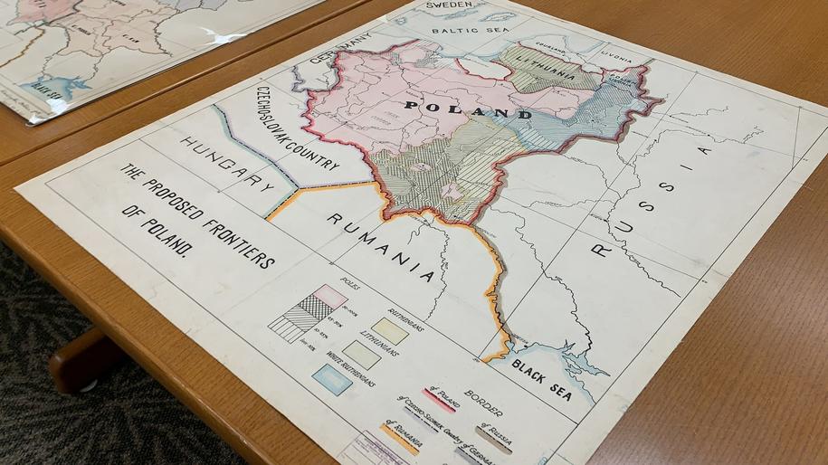 W zbiorach Biblioteki Kongresu są też mapy z tamtego okresu z propozycją polskich granic /Paweł Żuchowski /RMF FM