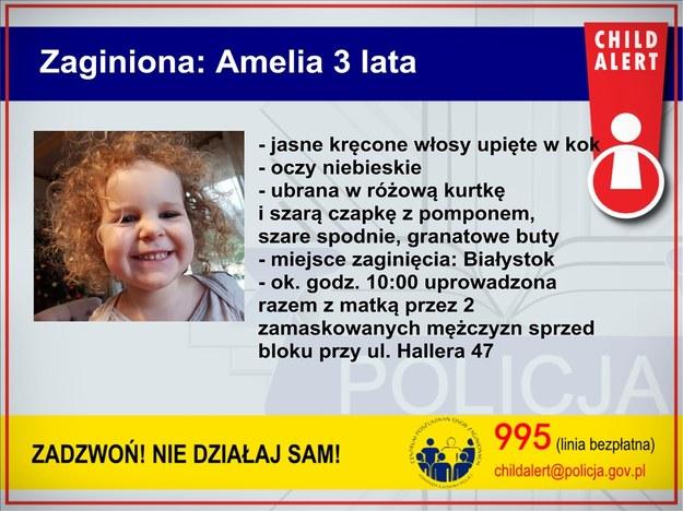 W związku z porwaniem 3-letniej Amelki policja ogłosiła Child Alert /Policja /