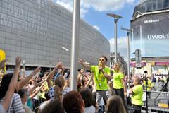 Wakacyjna atmosfera na Placu Szewczyka w Katowicach. Zawitał tam Słoneczny Patrol RMF FM