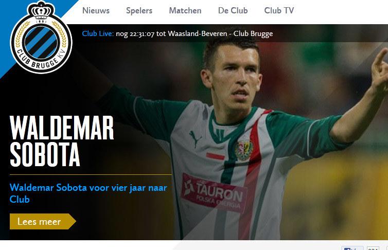 Waldemar Sobota na oficjalnej stronie belgijskiego klubu /Internet