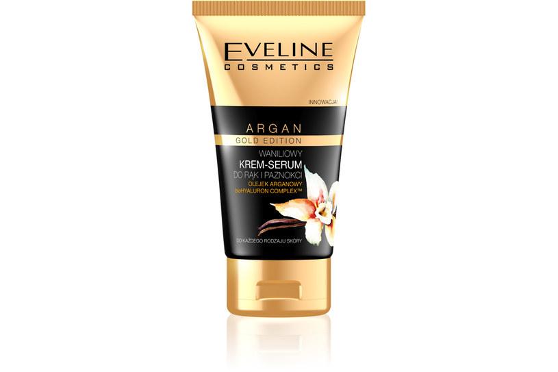 Eveline: Waniliowy krem serum do rąk i paznokci Argan Gold..