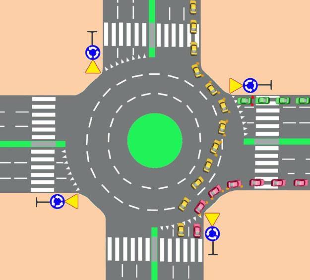Wariant II - jazda prosto środkowym pasem, a następnie zmiana pasa na prawy przed opuszczeniem ronda /INTERIA.PL
