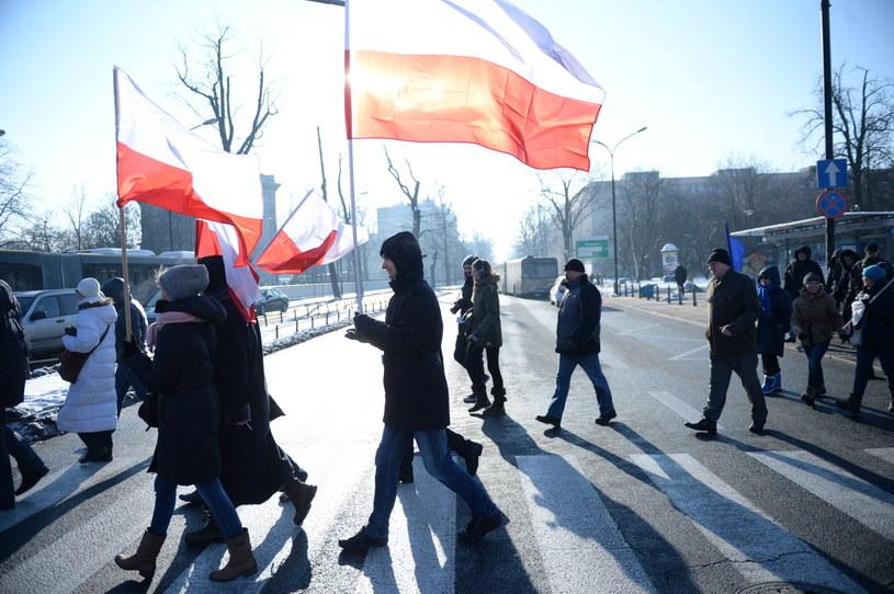 """Warszawa: Demonstracje KOD pod hasłem """"W obronie Twojej wolności"""" /Jacek Turczyk /PAP"""