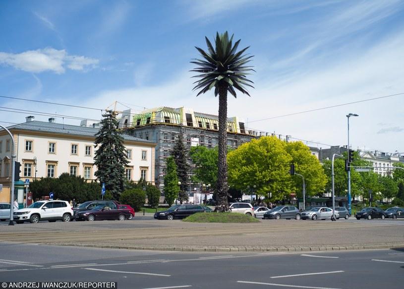 Warszawa, rondo gen. Charles'a de Gaulle'a. Palma jest dziełem artystki Joanny Rajkowskiej /Andrzej Iwańczuk/Reporter /East News