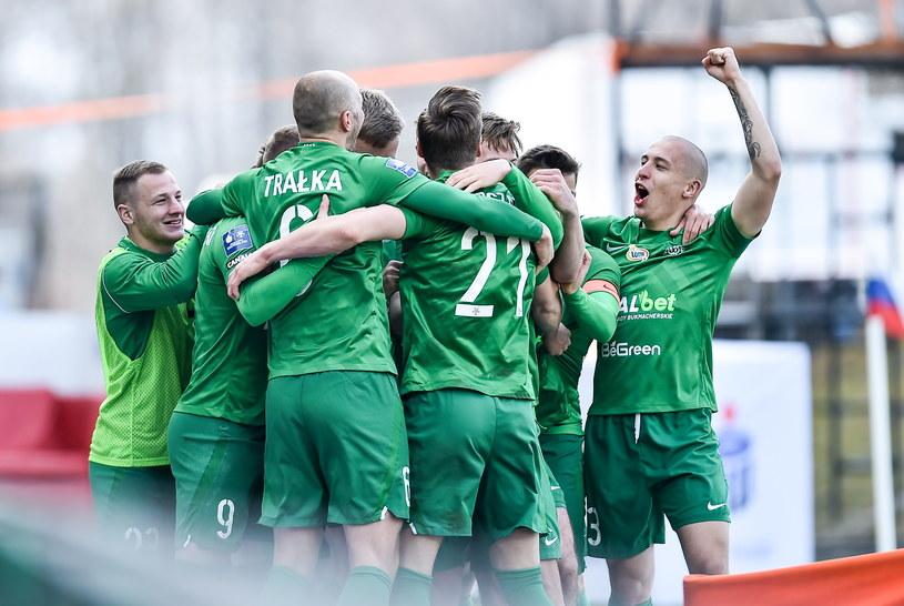 Warta Poznań świętuje gola w meczu z Górnikiem Zabrze /Fot. Łukasz Sobala /Newspix