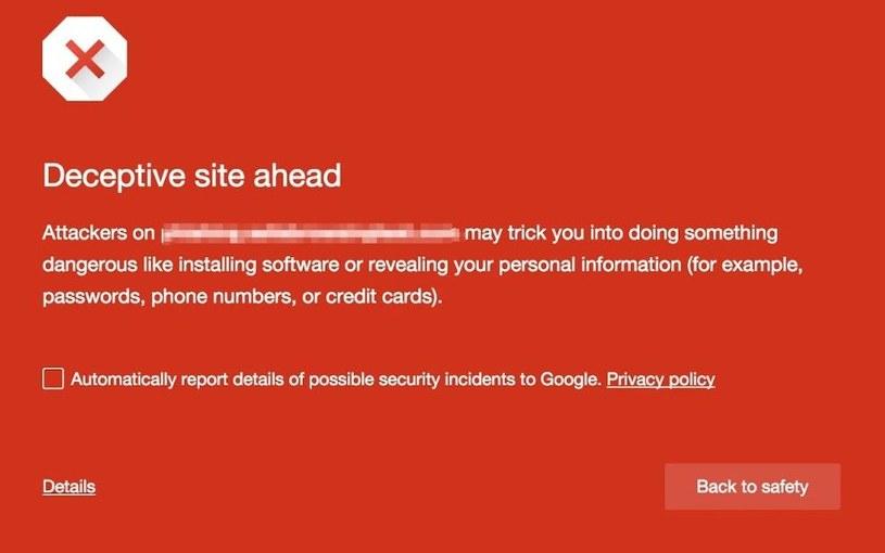 """""""Wchodzisz na zwodniczną stronę"""" - tak Google będzie ostrzegało internautów przed potencjalnie niebezpiecznymi stronami /INTERIA.PL"""