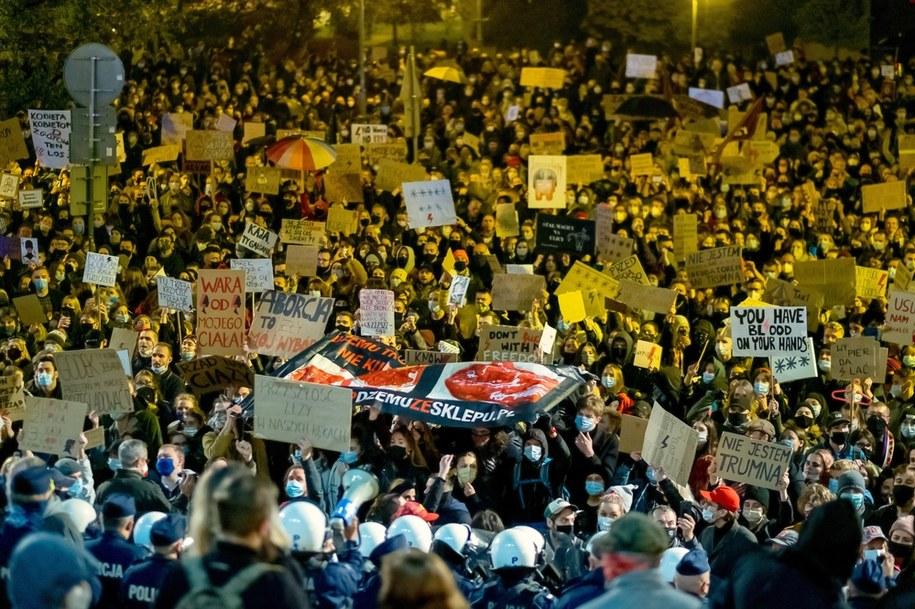 Wczorajsze protesty w Katowicach /Andrzej Grygiel /PAP