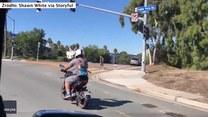 We włosach wiatr, w plecaku... pies. Amator motocykli wiózł na plecach ukochanego czworonoga