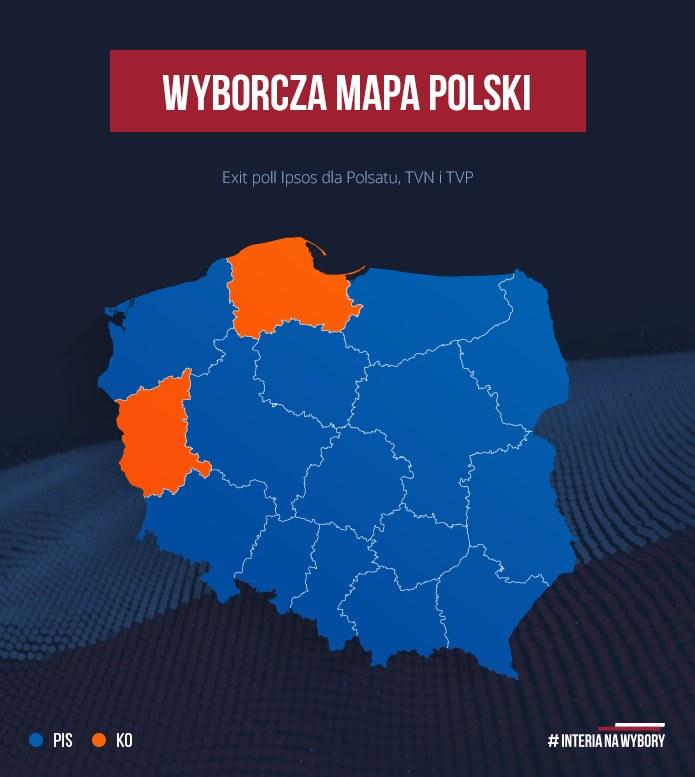 Według sondażu Koalicja Obywatelska wygrała w dwóch województwach, w pozostałych - PiS /INTERIA.PL