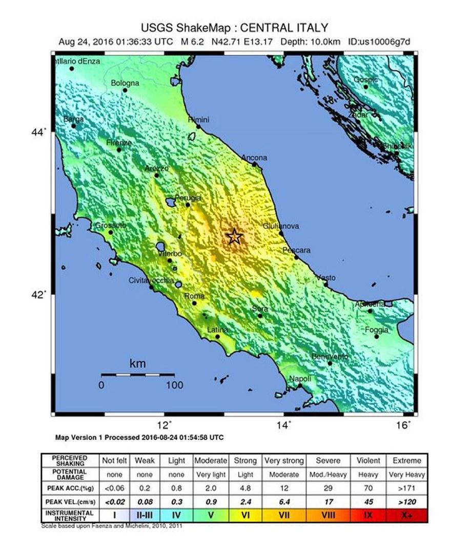 Według USGS trzęsienie miało siłę 6,2 stopni w skali Richtera //USGS / HANDOUT /PAP/EPA