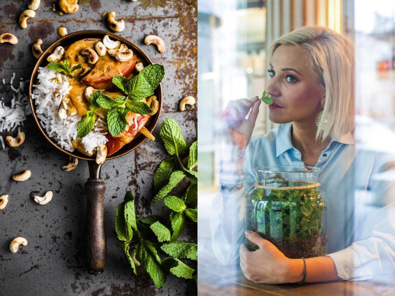 Wegańskie curry z papają, orzechami nerkowca i miętą - przepis Darii Ładochy /materiały prasowe