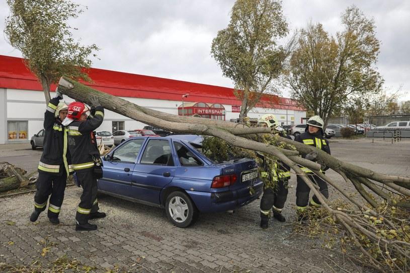 Węgierscy strażacy usuwają skutki wichury /BALAZS MOHAI /PAP/EPA