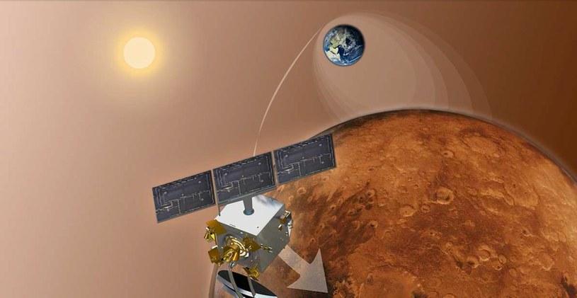 Wejście MOM na orbitę - wizja artystyczna. /materiały prasowe