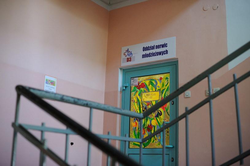 Wejście na oddział nerwic młodzieżowych w Szpitalu Mazowieckim w Garwolinie /Przemysław Piątkowski /PAP