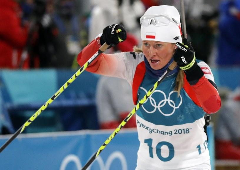 Weronika Nowakowska w sprincie biathlonistek IO w Pjongczangu. /PAP/EPA