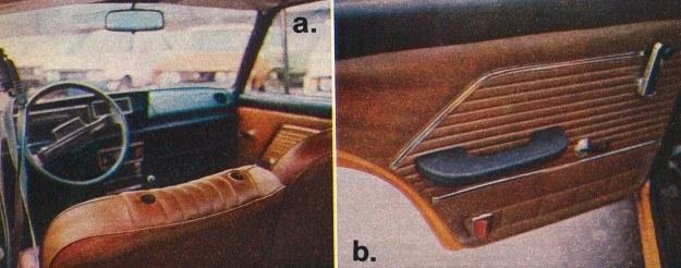 Wersja popularna POLSKIEGO FIATA 125p/1500: a) brakujące zagłówki, b) podłokietnik tylnych drzwi bez popielniczki. /Motor