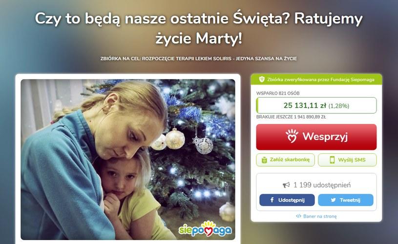 Wesprzyj walkę o życie Marty /www.siepomaga.pl/zycie-marty /