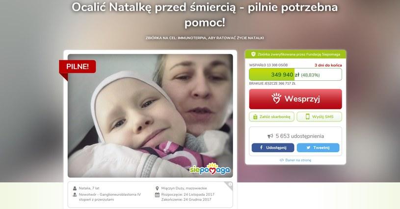Wesprzyj walkę o życie Natalki /www.siepomaga.pl/ocalic-natalke /