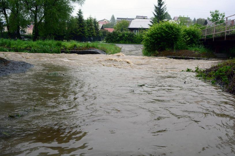 Wezbrana rzeka Tabor na Podkarpaciu /Wojciech Zatwarnicki/ Reporter /Reporter