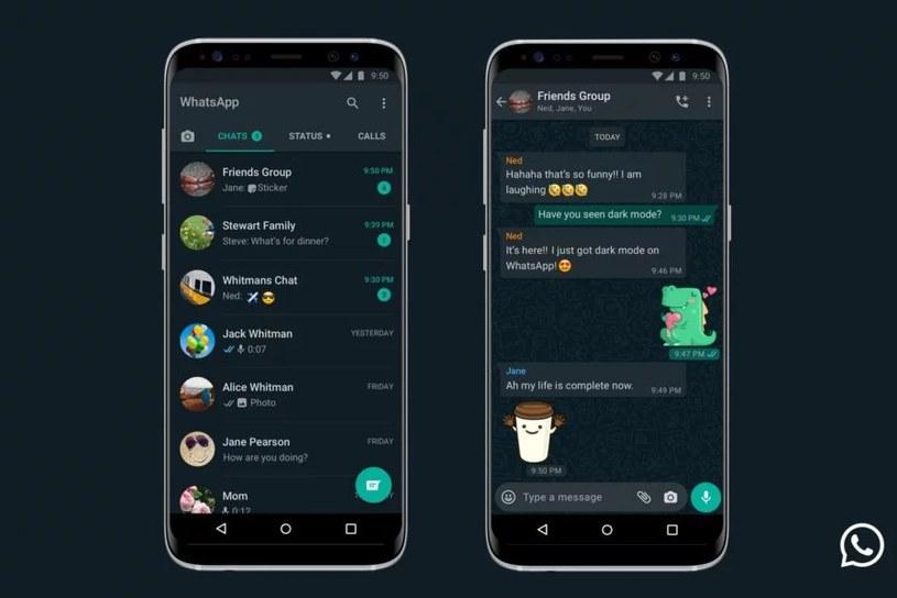 WhatsApp z ciemnym trybem /materiały prasowe
