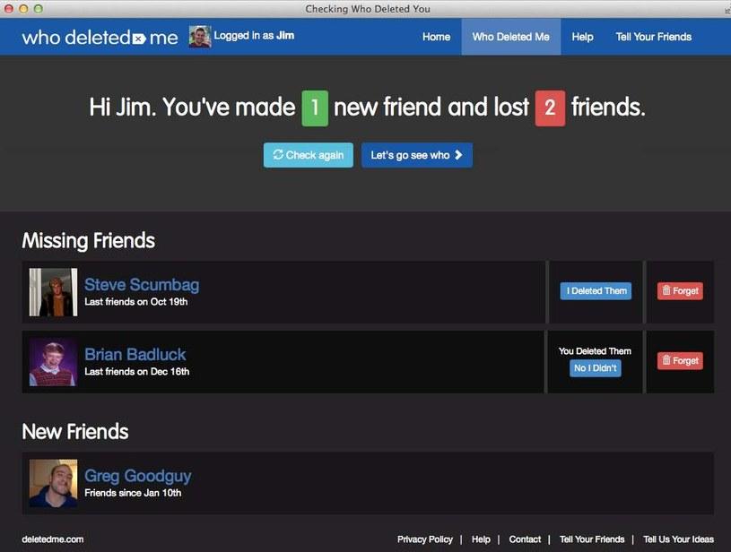 Who Deleted Me on Facebook zbiera informacje o tym, kto przestał być naszym znajomym. I kto nim został /materiały prasowe