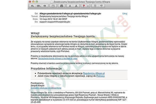 Wiadomość e-mail docierająca do użytkowników w ramach nowego ataku /materiały prasowe