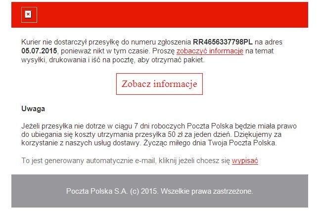 Wiadomość mailowa z linkiem prowadzącym do złośliwego oprogramowania /materiały prasowe