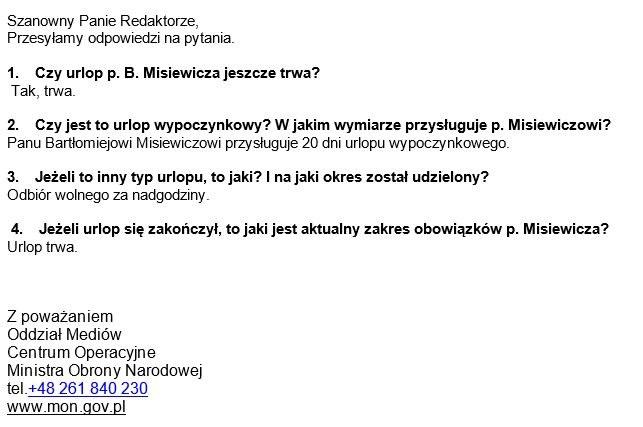 Wiadomość mailowa z Ministerstwa Obrony Narodowej /Zrzut ekranu