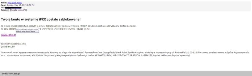 Wiadomość phishingowa skierowana do klientów PKO BP. /materiały prasowe