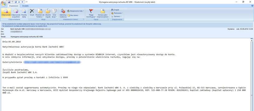 Wiadomość phishingowa wysyłana do klientów banku /materiały prasowe
