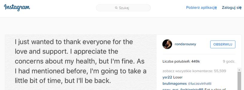 Wiadomość Rondy Rousey na Instagramie. Źródło: Instagram /Internet